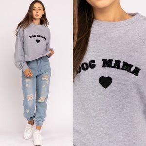 Le Lis Collection Dog Mama Gray Cropped Sweatshirt